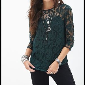 🔥BOGO! Forever 21 Green Laced Top